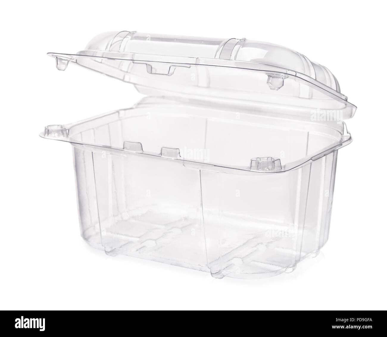 Empty transparent plastic food container isolated on white - Stock Image