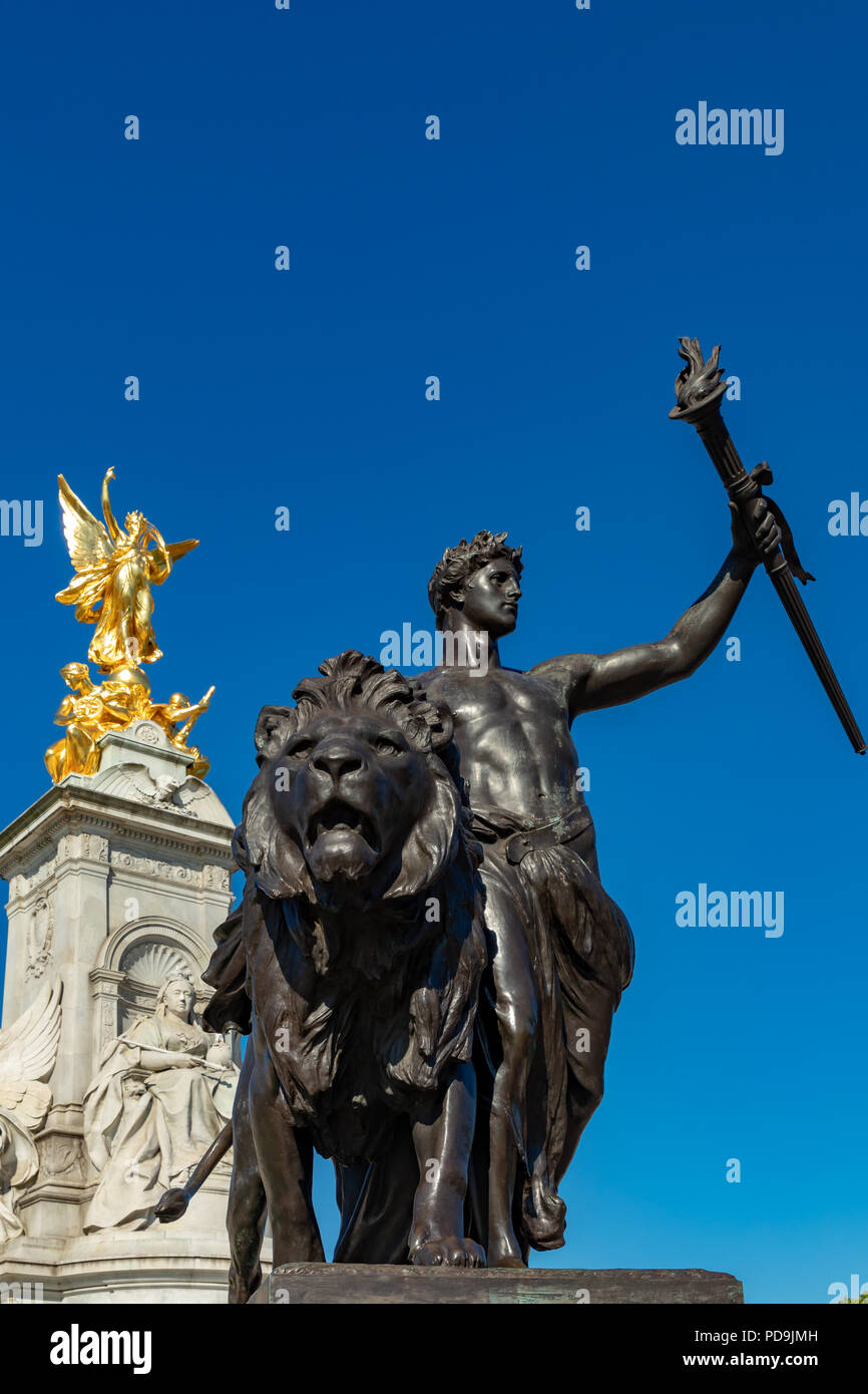 London England August 05, 2018 The Victoria Memorial, outside Buckingham Palace, the London residence of Her Majesty Queen Elizabeth 2nd - Stock Image