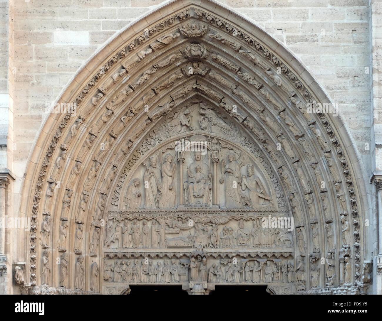 Portal of St. Anne, Notre Dame Cathedral, Paris, UNESCO World Heritage Site in Paris, France Stock Photo