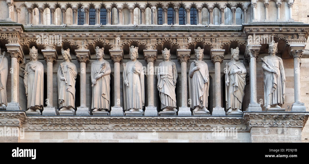The King's Gallery, Portal of St. Anne, Notre Dame Cathedral, Paris, UNESCO World Heritage Site in Paris, France Stock Photo