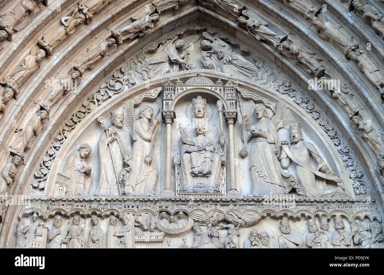 Virgin and Child on a throne, Portal of St. Anne, Notre Dame Cathedral, Paris, UNESCO World Heritage Site in Paris, France Stock Photo
