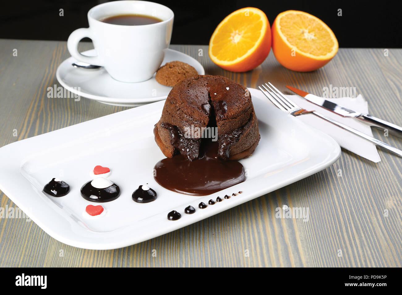 Homemade Chocolate Lava Cake Dessert, Fondant Lava Cake - Stock Image
