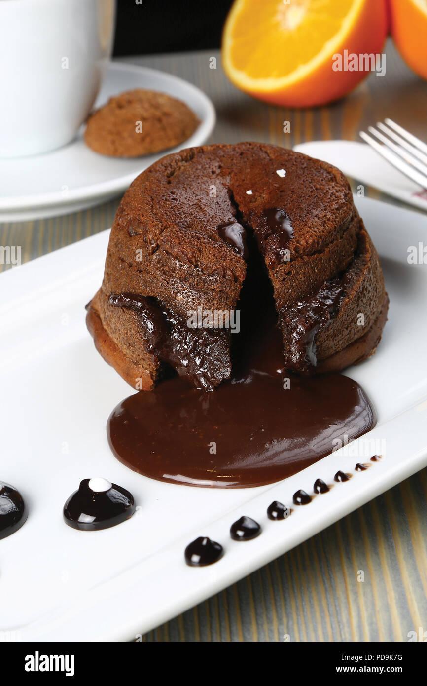 Homemade Chocolate Lava Cake Dessert, Fondant Lava Cake Stock Photo