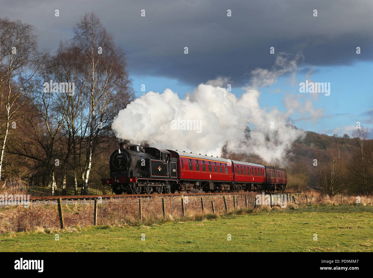 69621 nr Cheddleton  on the Churnet Valley Railway 21.2.15 - Stock Image