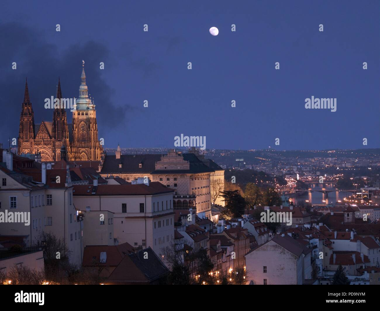 Prague at Night, Czech Republic and View of Prague Castle - Stock Image