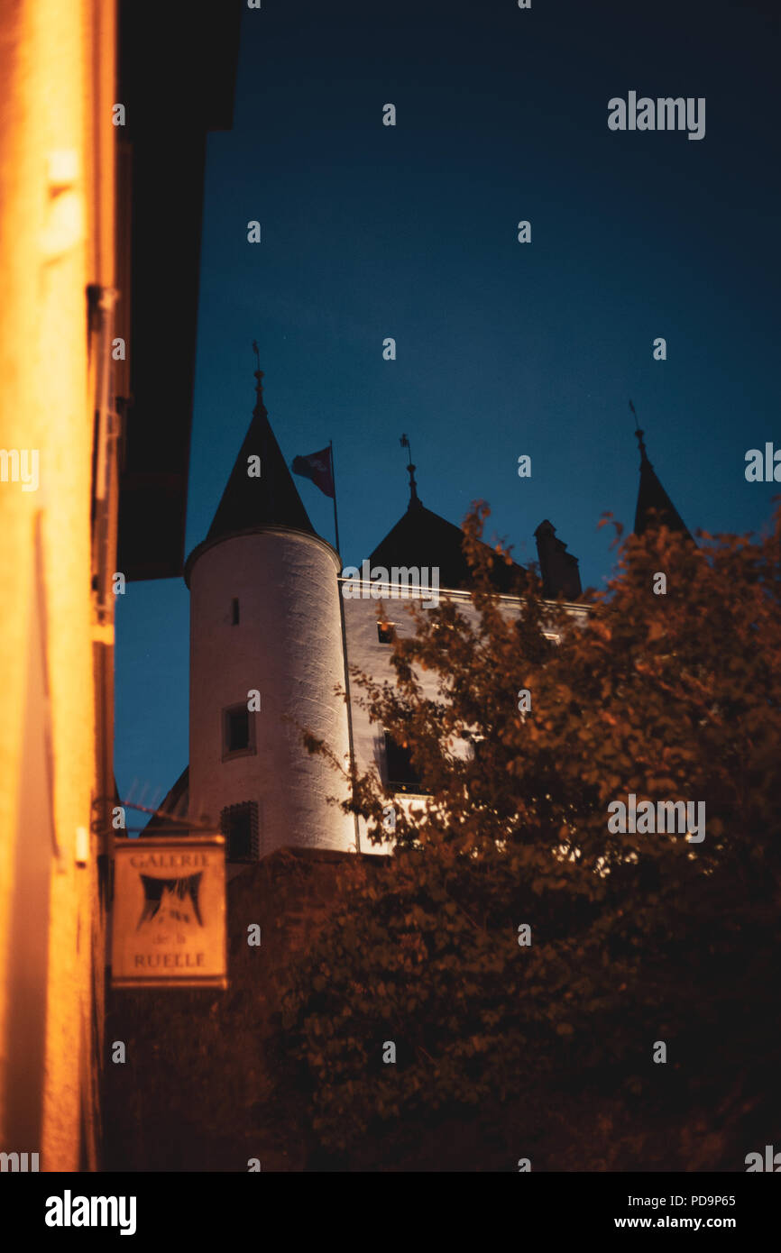 White castle seen from a small road in the middle of a blue hour - Stock Image