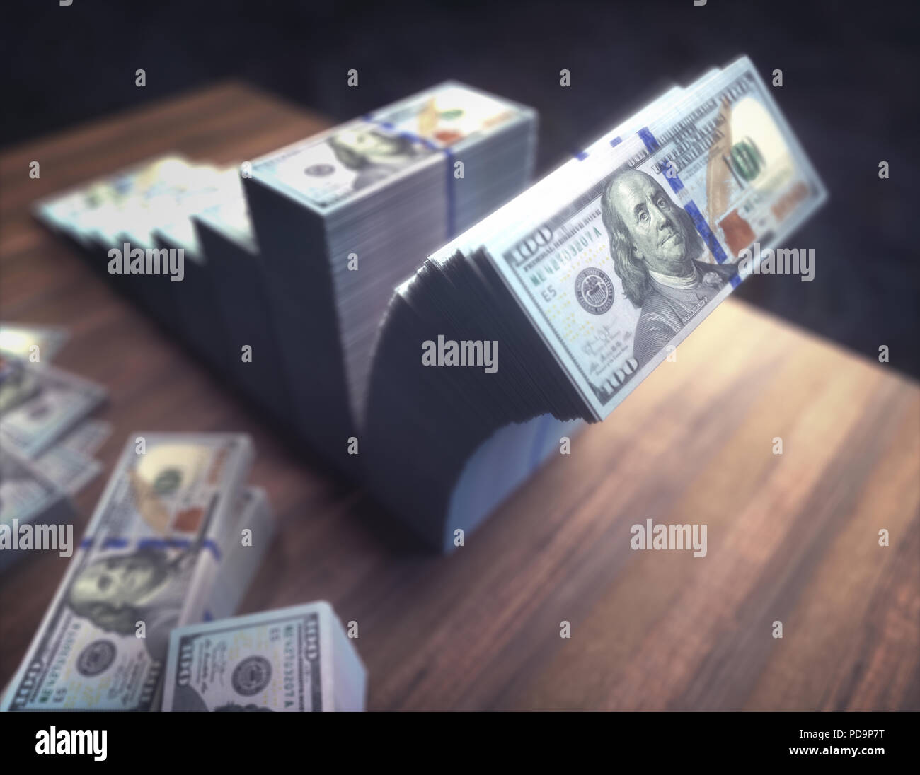 Stacks of dollars forming chart on the rise with the last pile crumbling. Concept of financial loss and stock market crash. - Stock Image
