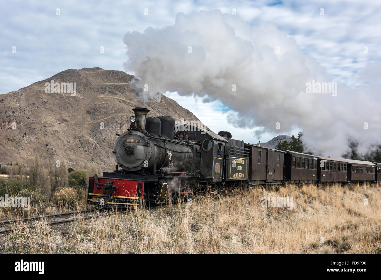 Esquel, Argentina - April 28, 2018: La Trochita (official name: Viejo Expreso Patagonico), in English known as the Old Patagonian Express, is a 750 mm - Stock Image
