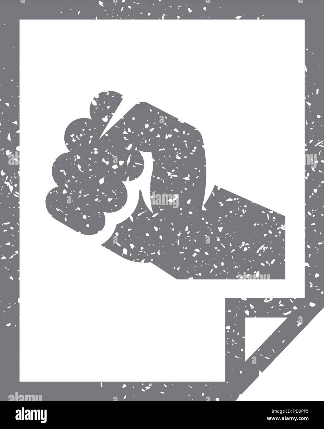 Grunge icon - Hand fist - Stock Vector