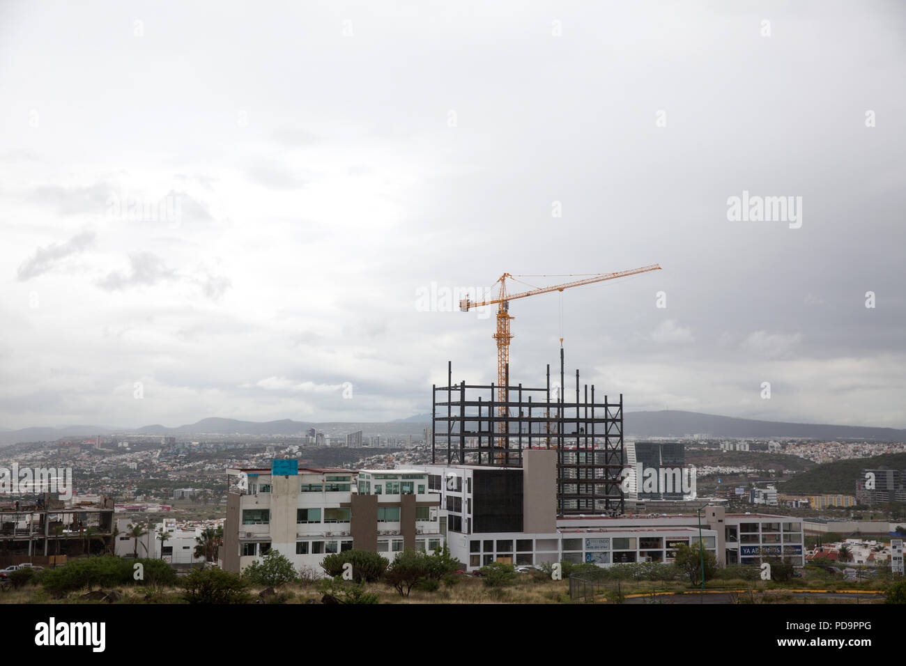 Skyline view of Querétaro from the outskirts, capital city of Querétaro state, Mexico on June 19, 2018. Photo credit by Bénédicte Desrus - Stock Image