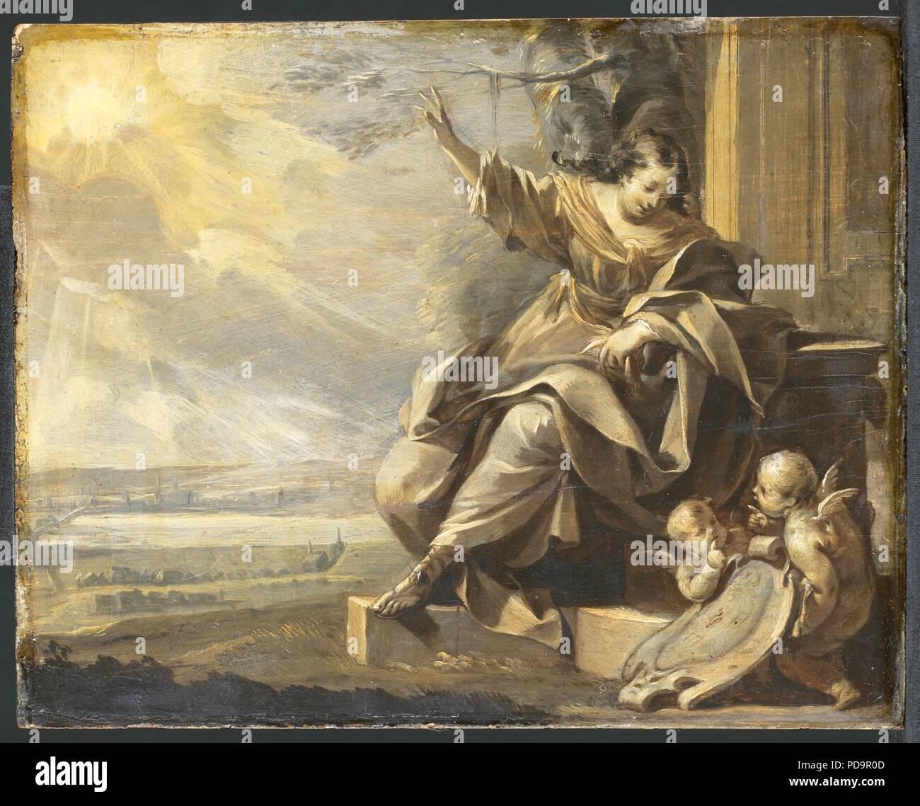 Allegorische vrouwenfiguur met twee putti - Stock Image