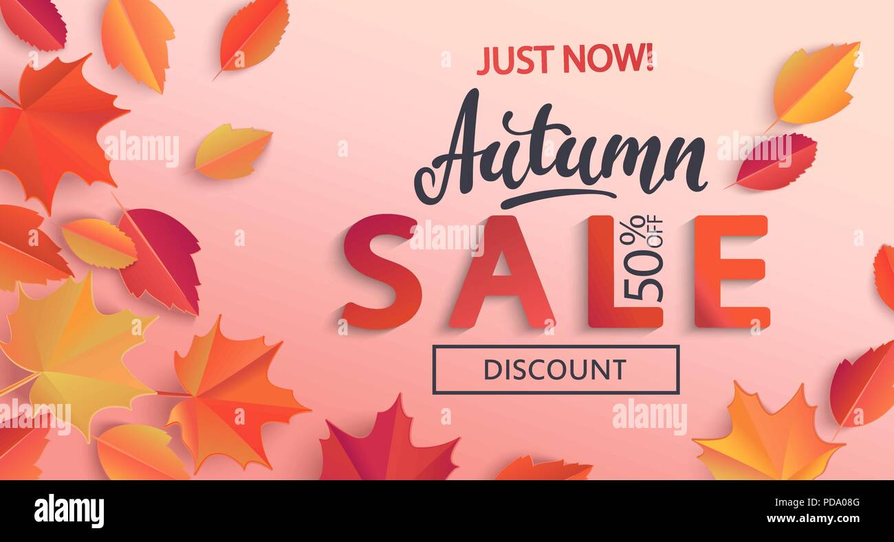 autumn sale banner with half price discount surrounded by colorful