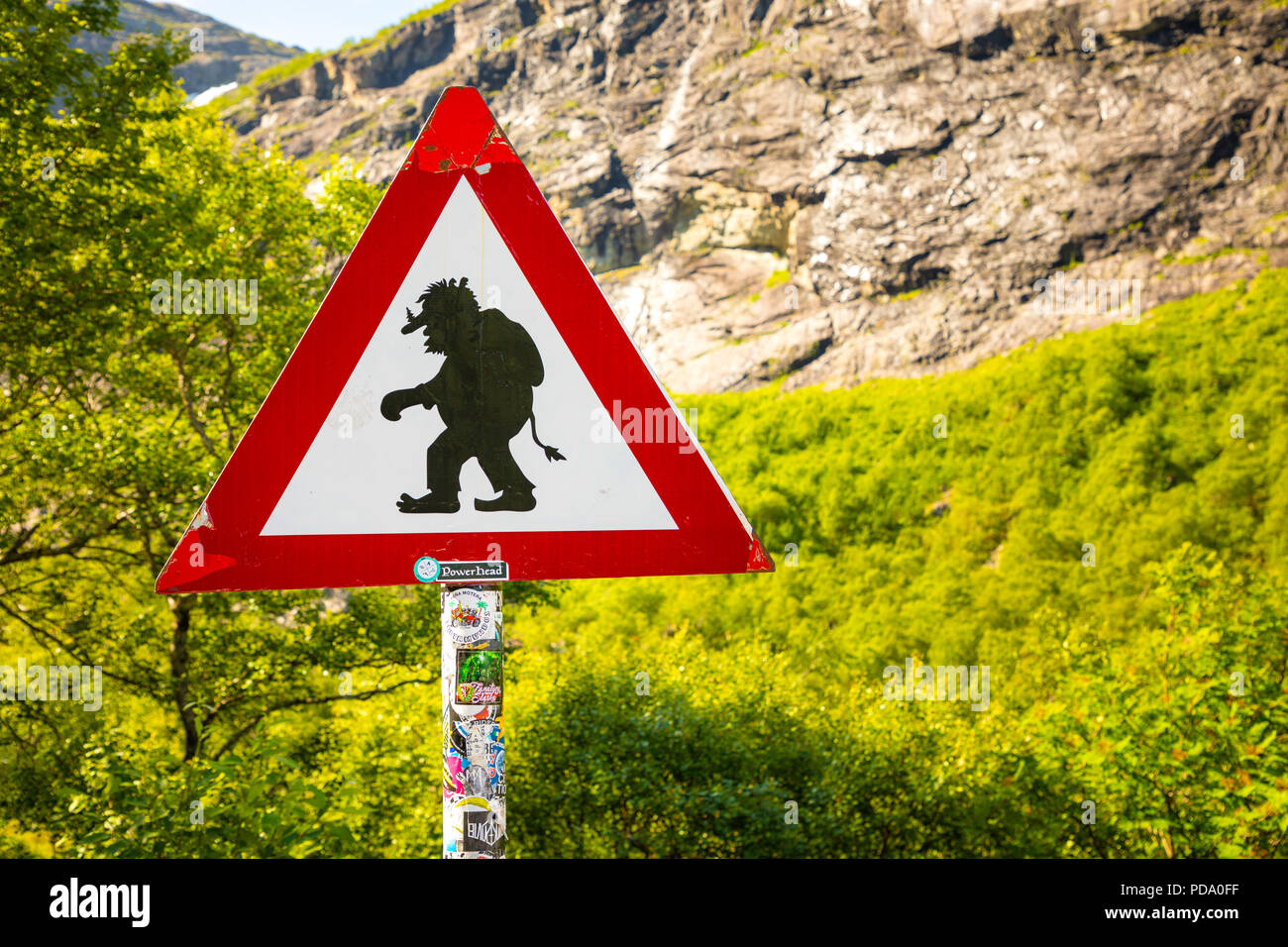 Sirgn Beware of trolls on trollstigen road, Norway - Stock Image