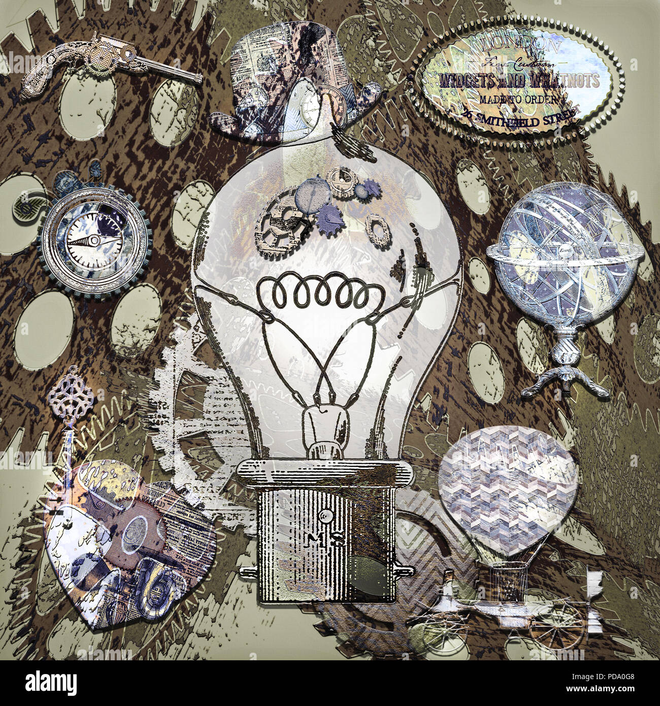 An illuminated lightbulb holds the 'gears' of our thoughts and efforts, that can lead to the fruition of ideas, concepts, inventions, resolutions and  - Stock Image