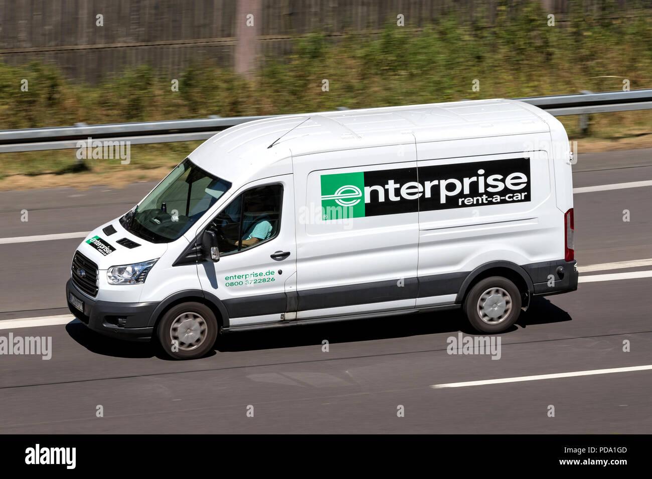 7d9ed9925e Ford Transit of Enterprise on motorway. Enterprise Rent-A-Car is an American