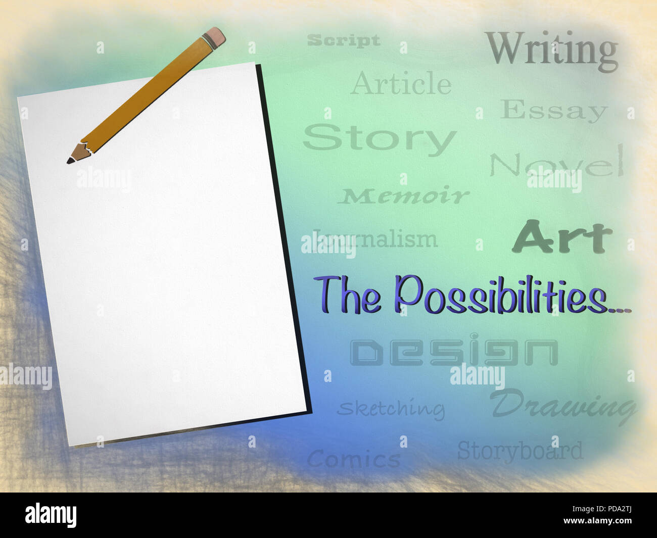 A blank page and a pencil equals a world of possibilities. Stock Photo
