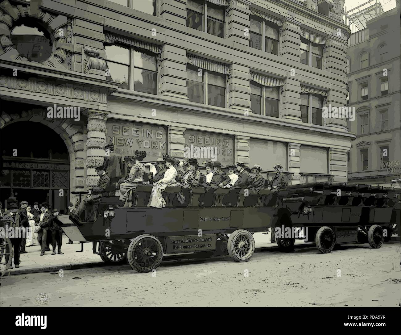 New York circa 1900 city tours vectorization from old photochrome - Stock Vector