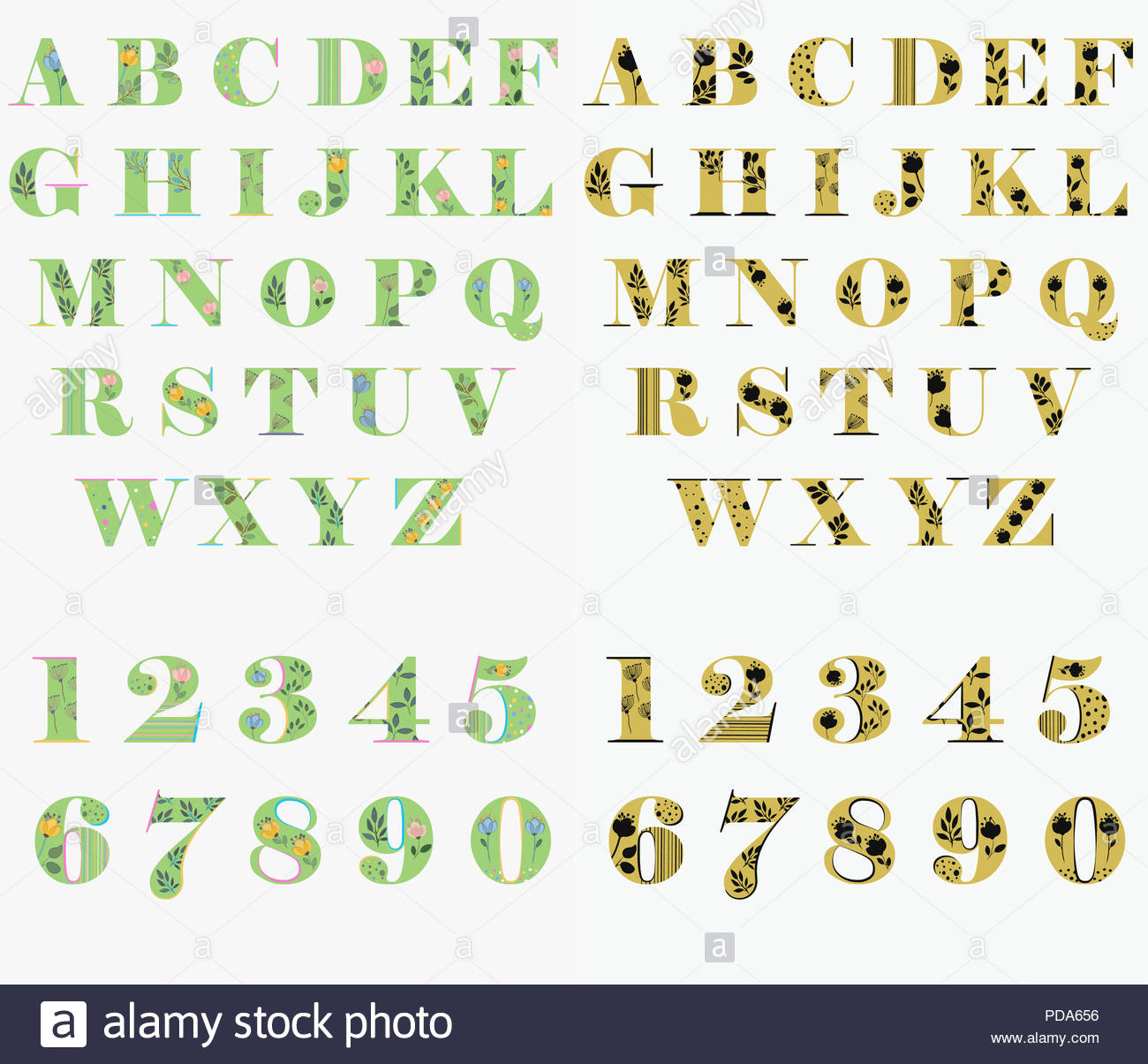 Set Of Letters And Numbers Green Font With Watercolor Flowers And