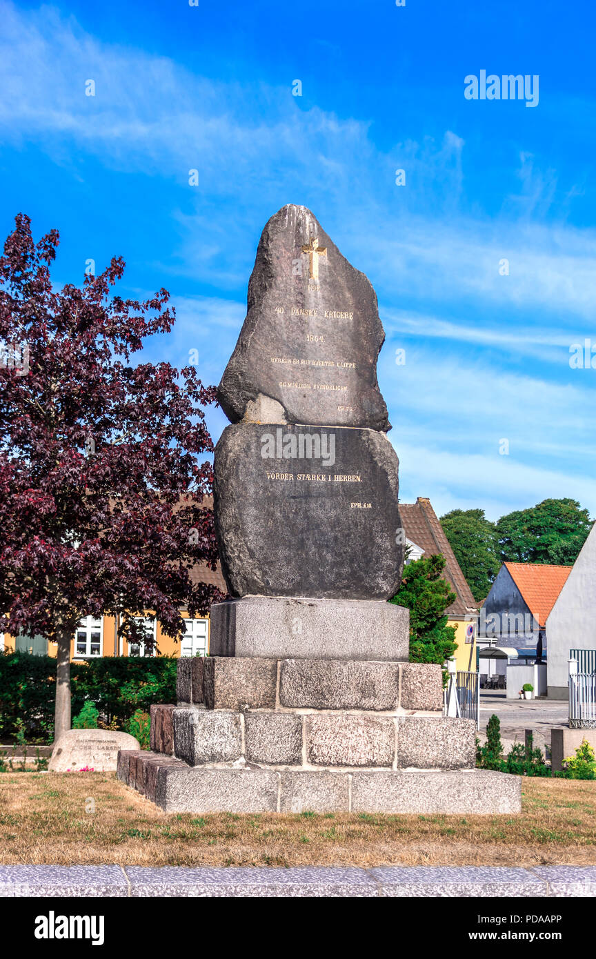 Grave site for 40 Danish soldiers at Saint Michaelis church cemetery, fallen in the 1864 Second Schleswig War - Fredericia, Denmark. - Stock Image