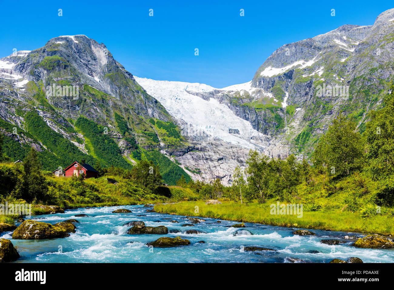 Bøyumbreen, a glacier in Western Norway. Bøyumbreen, or Bøyabreen, is an arm of Norway´s largest glacier, Jostedalsbreen in Sogn og Fjordane. Stock Photo
