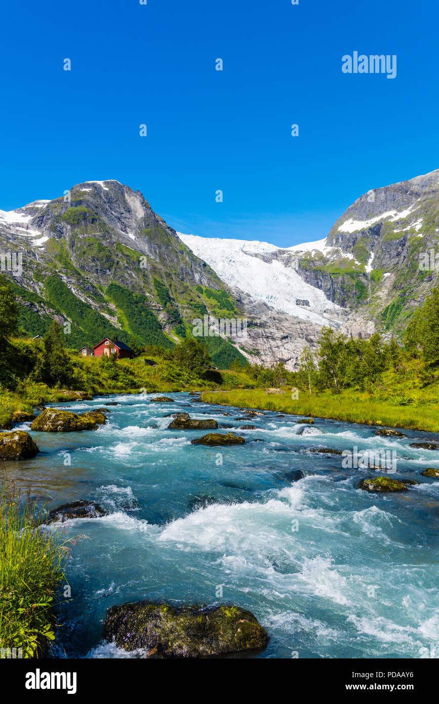 Bøyumbreen, a glacier in Western Norway. Bøyumbreen, or Bøyabreen, is an arm of Norway´s largest glacier, Jostedalsbreen in Sogn og Fjordane. - Stock Image