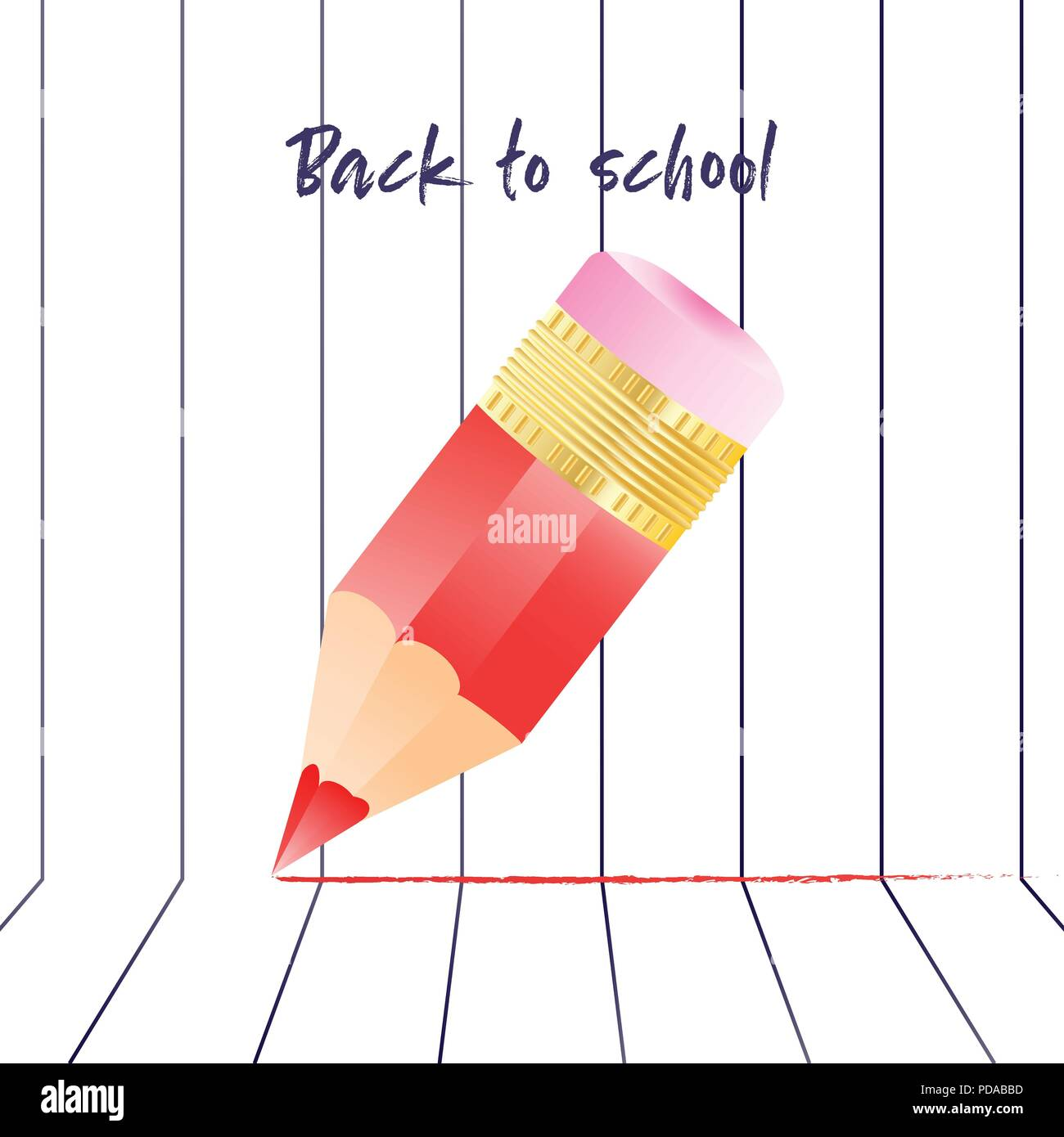 Abstract back to school background with red pencil and lined notebook. Back to school backdrop quote - Stock Image