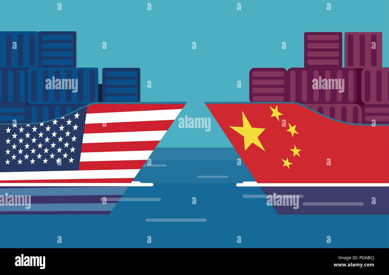 China and United States trade war concept. Vector of two cargo ships. Taxation of import and exports - Stock Image