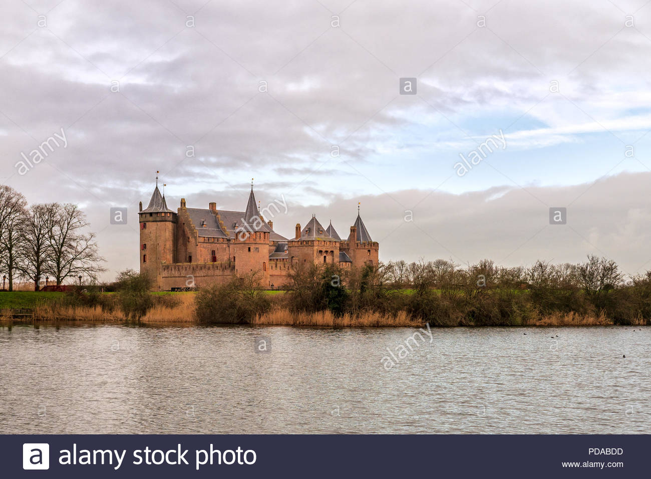 View of the Muiderslot, Amsterdam Castle, the best preserved medieval castle in the Netherlands, built around 1296. - Stock Image