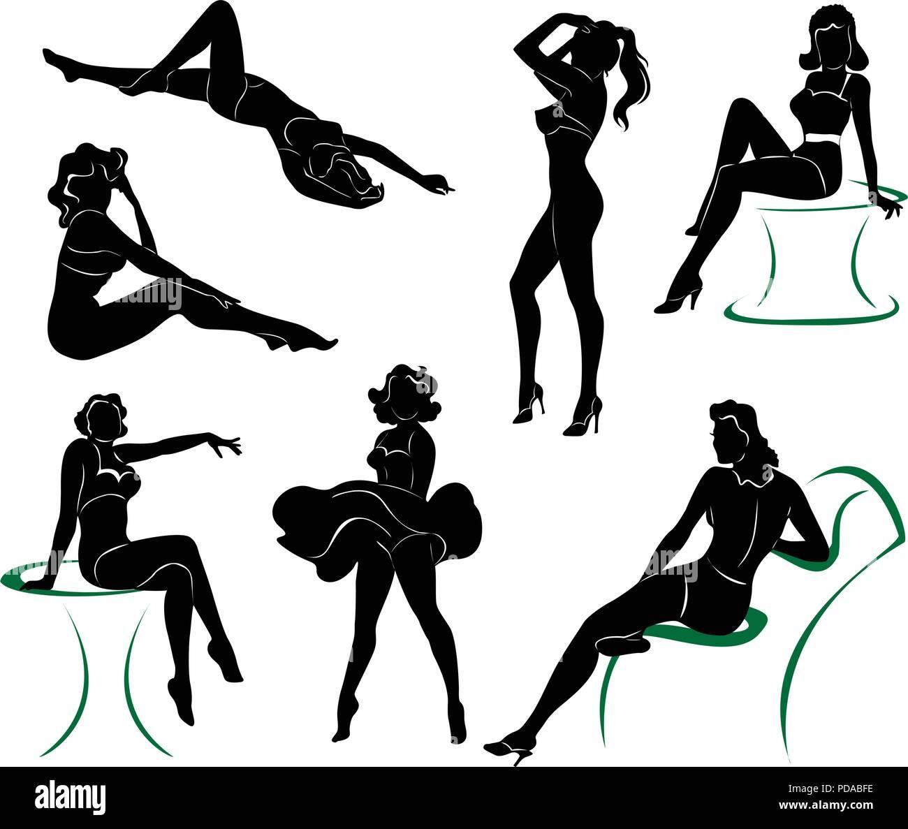 vector silhouette of pin up girls stock vector art illustration