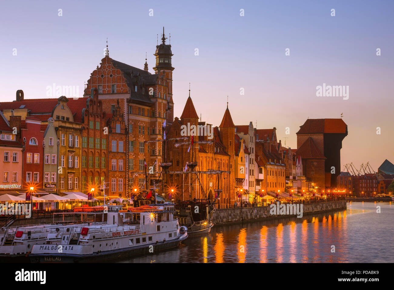 Poland Baltic old city port, view at dusk of the Old Town waterfront area in the center of Gdansk, Pomerania, Poland. Stock Photo