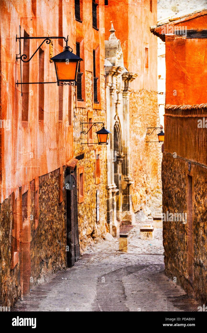 Old streets of Spain,Albarracin village. - Stock Image