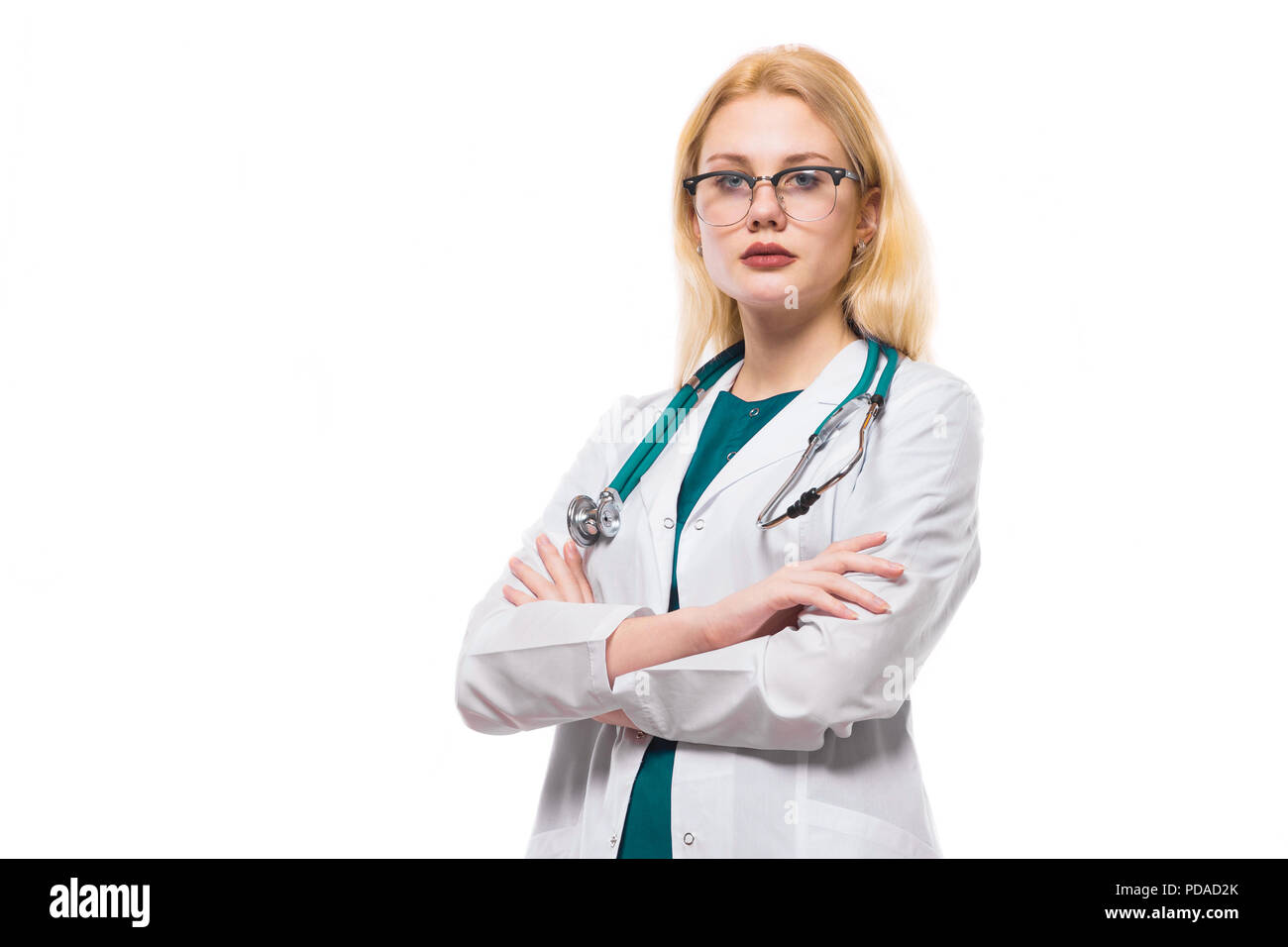 Woman doctor with stethoscope - Stock Image