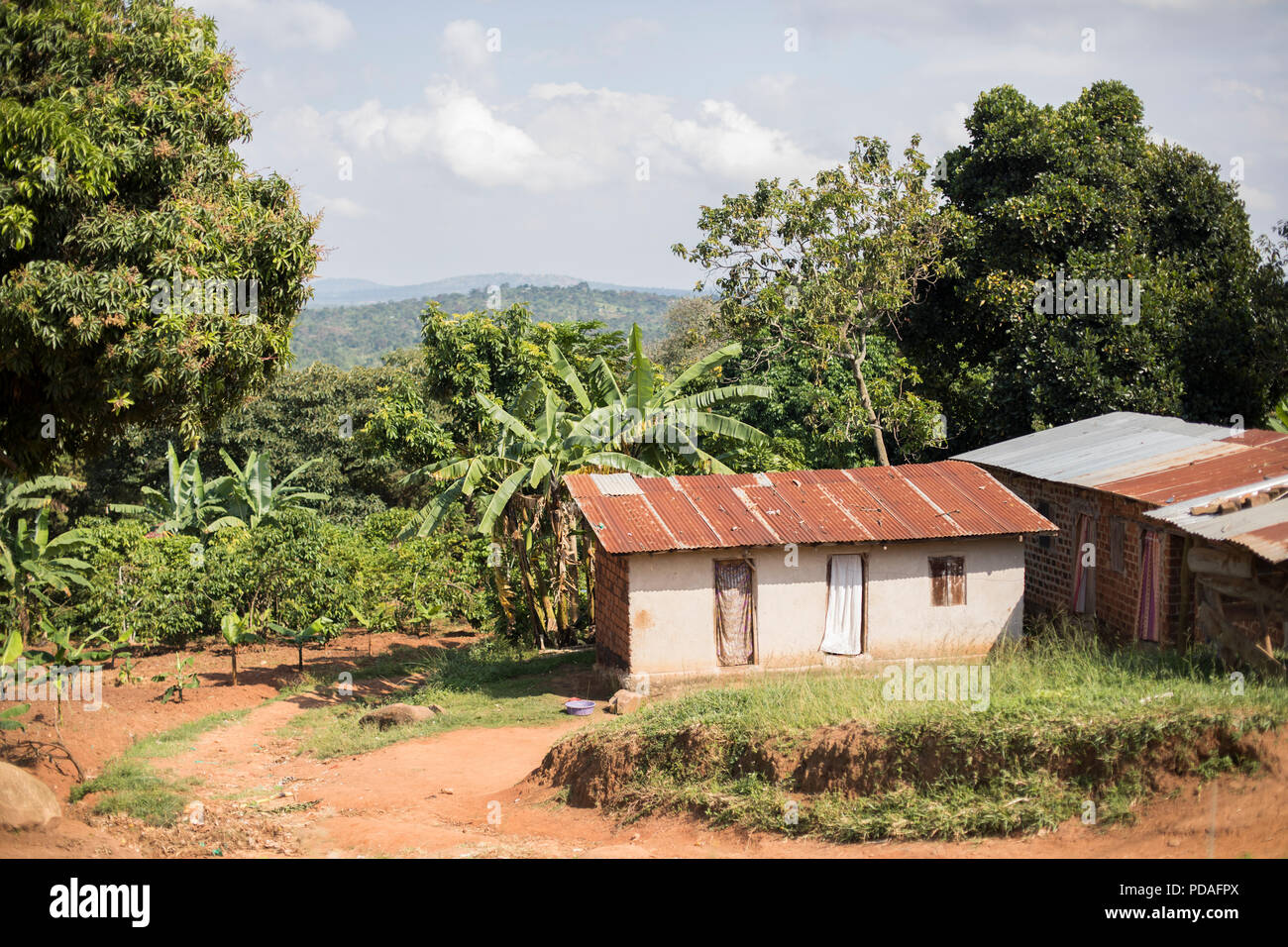 Shops and houses line the roadside of a small town in rural Mukono District, Uganda. - Stock Image