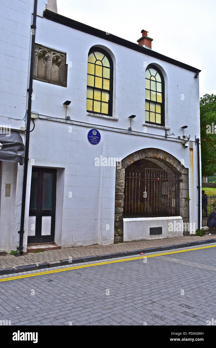 This ancient building is on the site of the medieval Guiildhall & Council Chamber in St Georges Street, Tenby, Pembrokeshire - Stock Image