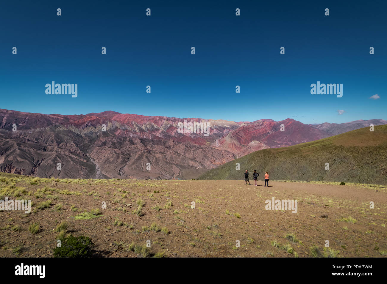 Serrania de Hornocal, the fourteen colors hill at Quebrada de Humahuaca - Humahuaca, Jujuy, Argentina - Stock Image