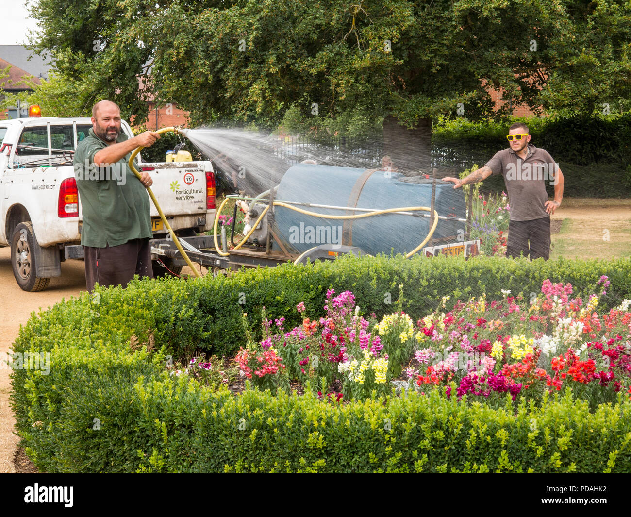 Council workmen gardener watering the the flower beds during the heatwave of summer  2018 in the Abbey Gardens Abingdon Oxfordshire England UK - Stock Image
