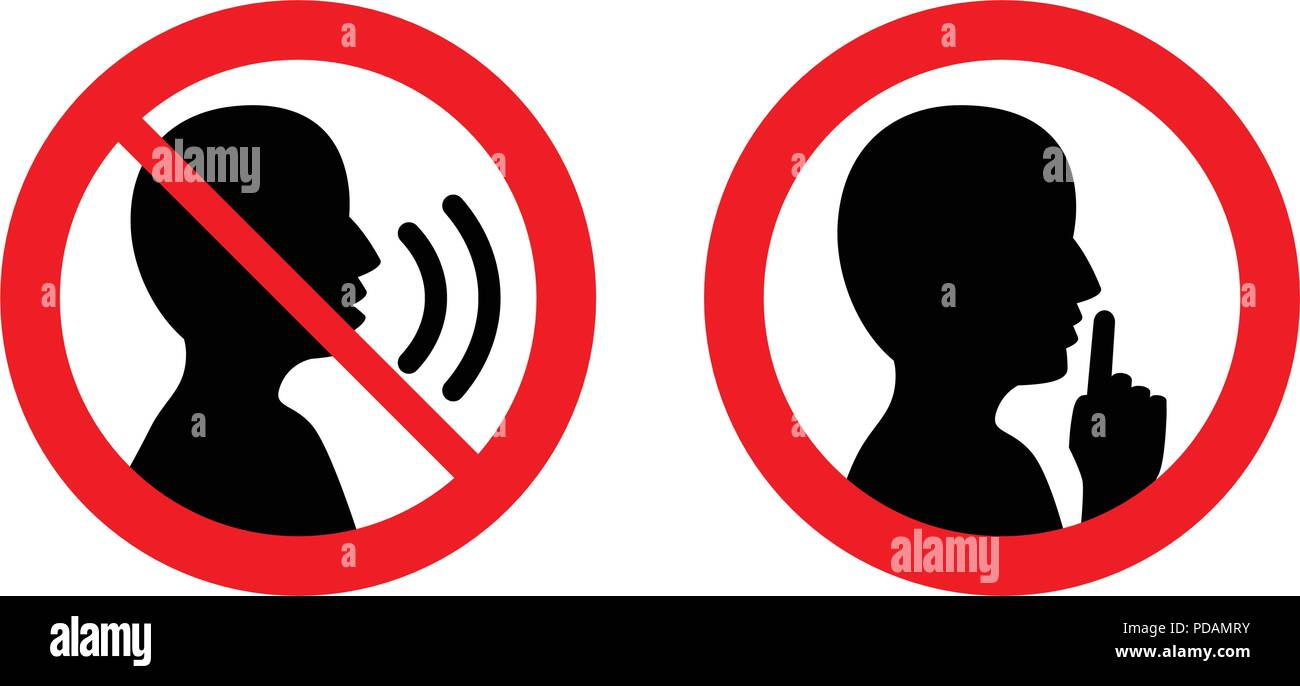 Keep quiet / silent please sign. Crossed person talking / Shhh icon in circle. - Stock Image
