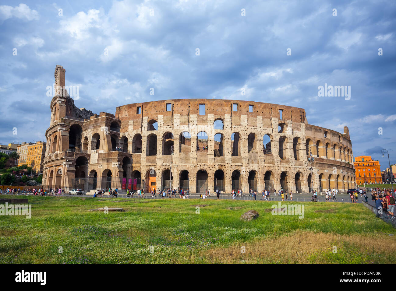 Rome, Italy - 22.06.2018: Colosseum in Rome, Italy. Roman Colosseum is one of the main travel attractions. - Stock Image