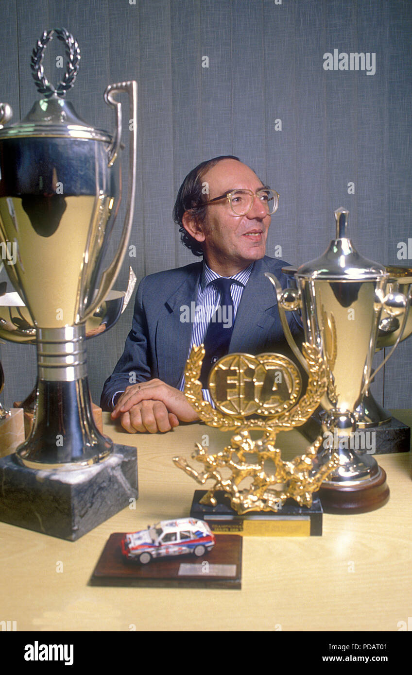 Claudio Lombardi Director General of Abarth and Lancia Rally Team in 1980's and 1990's in his office with many of the rally trophies in Turin in 1995 - Stock Image