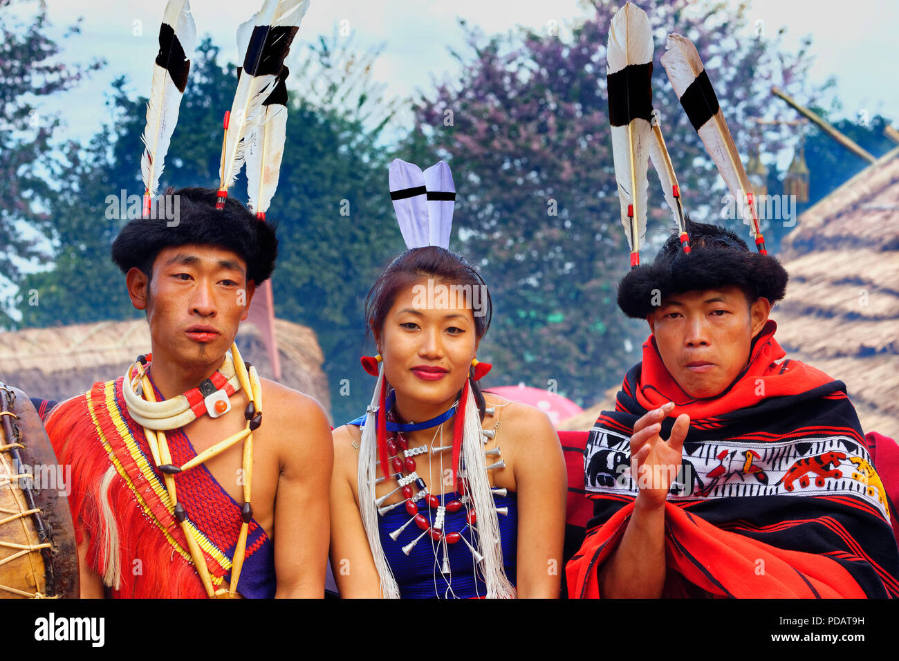 Group of Naga tribal people in traditional clothing, Kisima