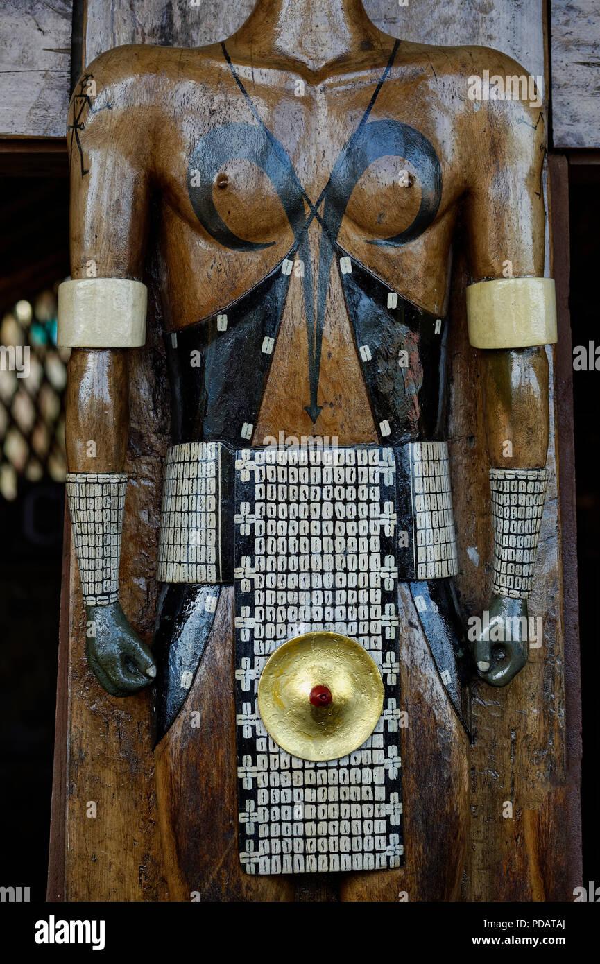 Traditional sculpture, Kisima Nagaland Hornbill festival, Kohima, Nagaland, India - Stock Image