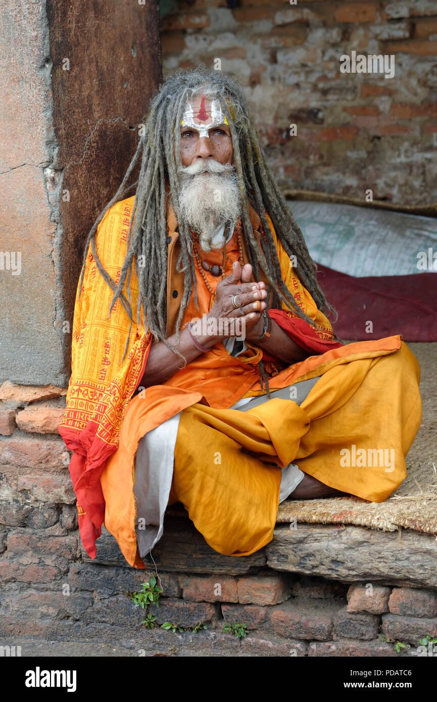 Hinduist Sadhu, Holy Man, Pashupatinath Temple, Kathmandu, Nepal - Stock Image
