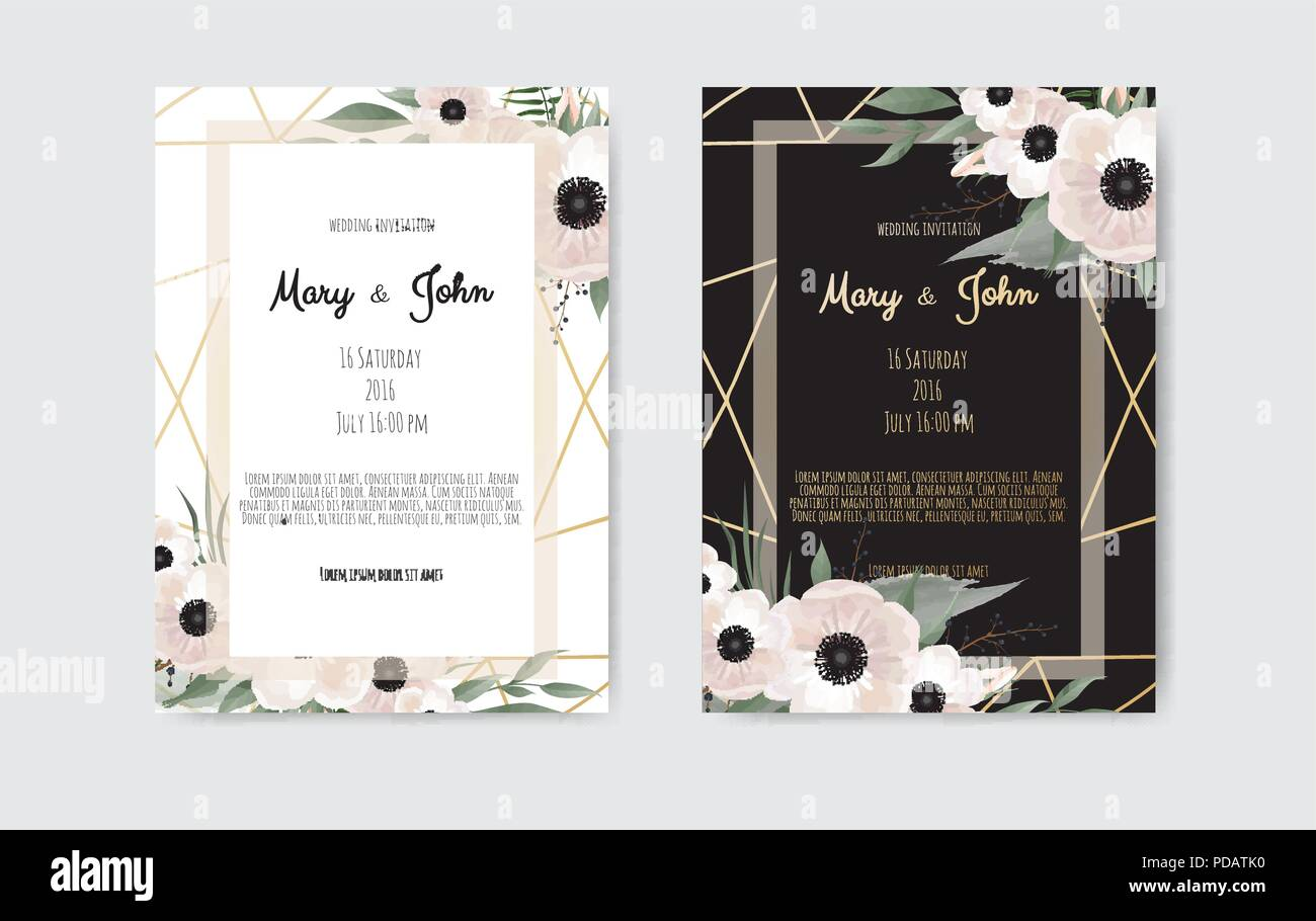 Botanical wedding invitation card template design, white and pink flowers on white and black background - Stock Image