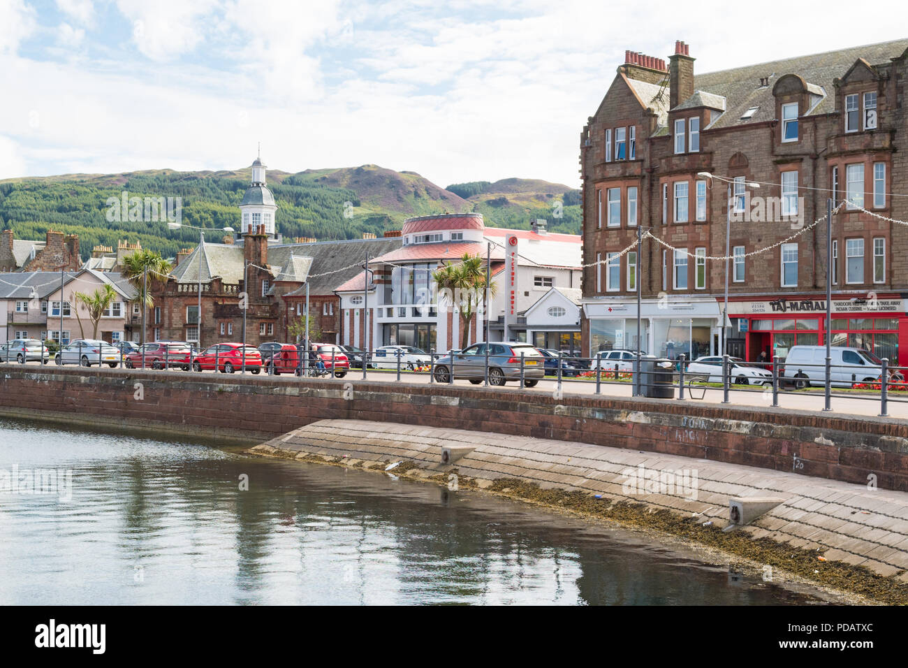 Campbeltown seafront and art nouveau Picture House, Kintyre peninsula, Argyll and Bute, Scotland, UK - Stock Image