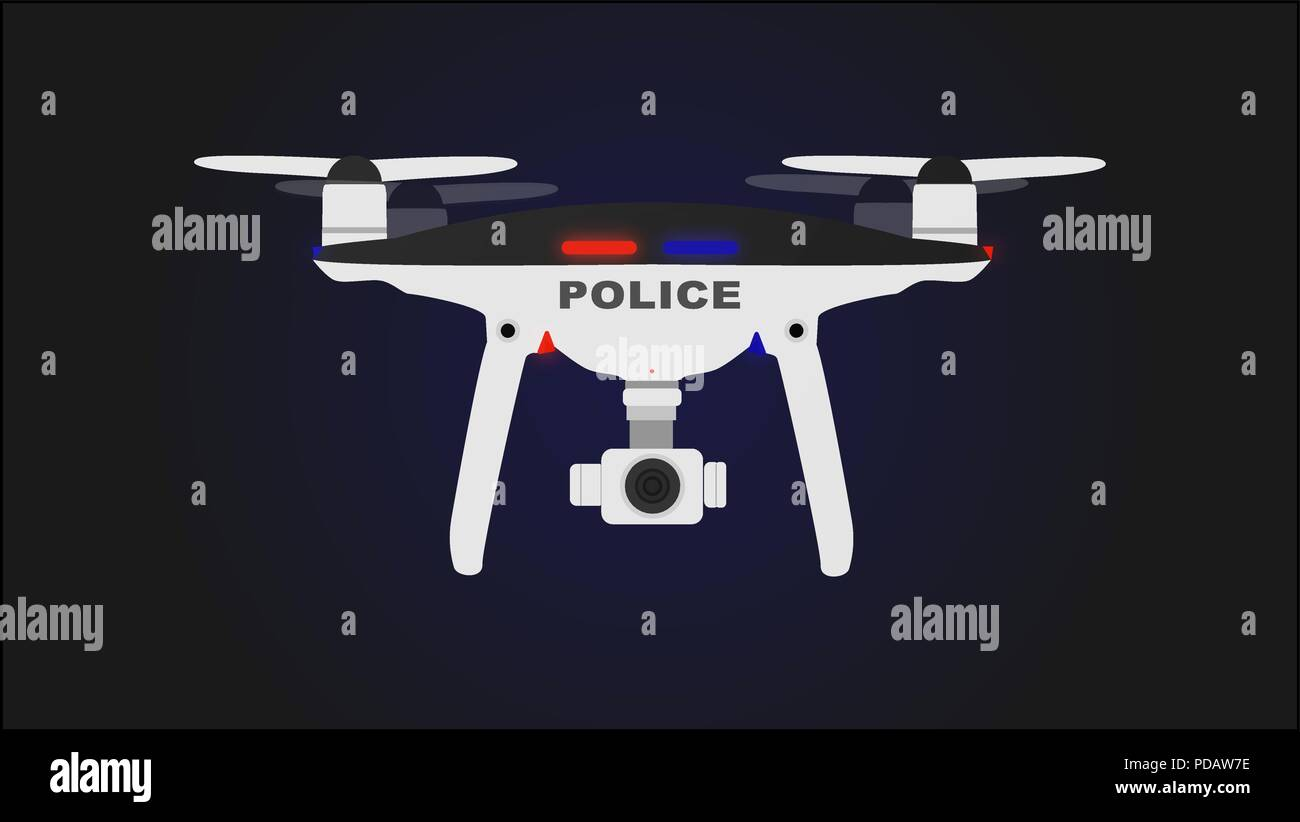 Black and white drone police with background. - Stock Image