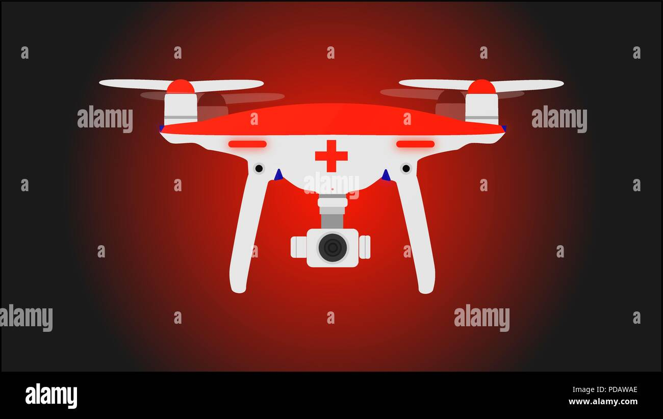 Medic photo and video drone for rescue missions. Vector illustration. Stock Vector