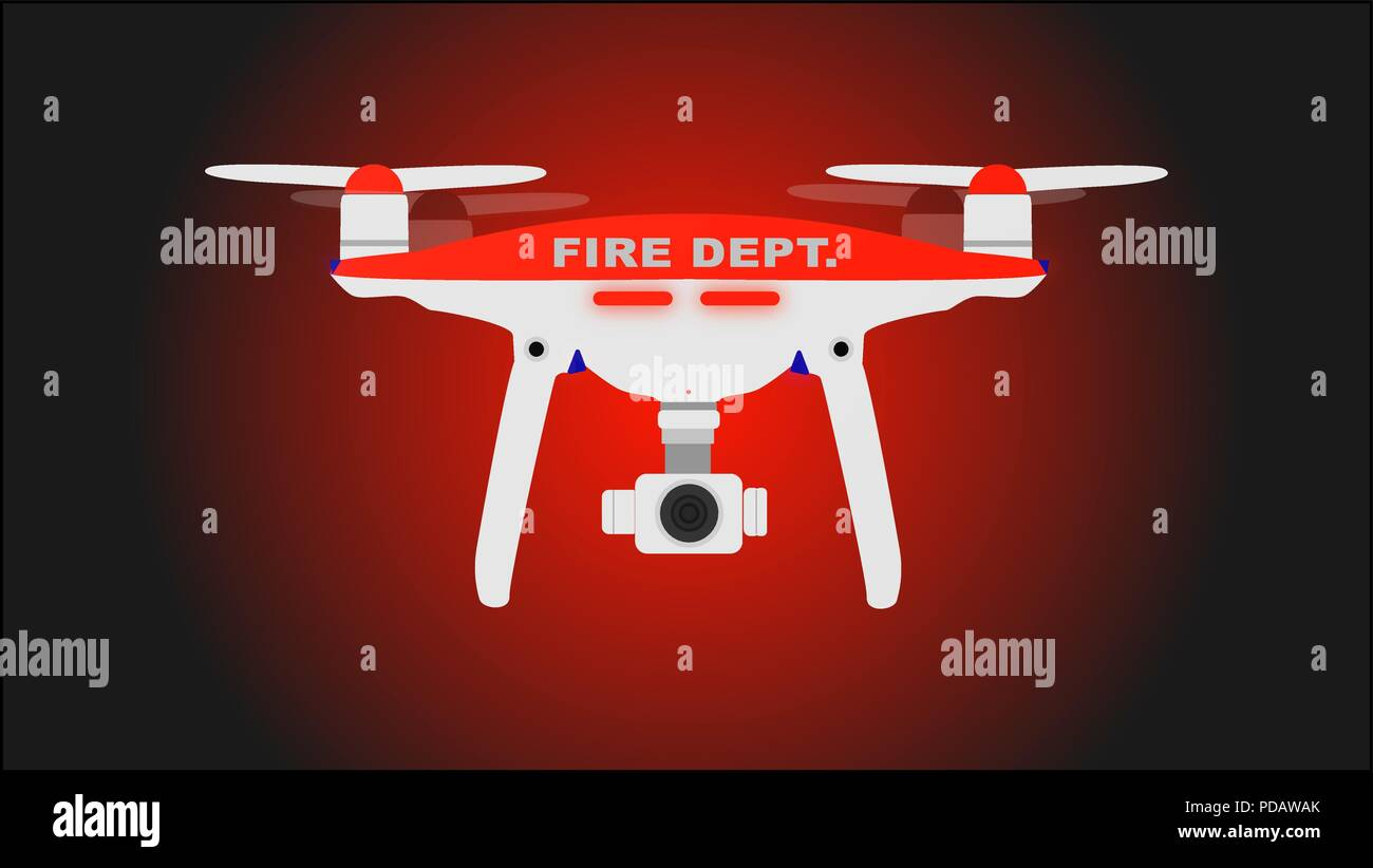 Fire dept. photo and video drone icon. Vector illustration. - Stock Image