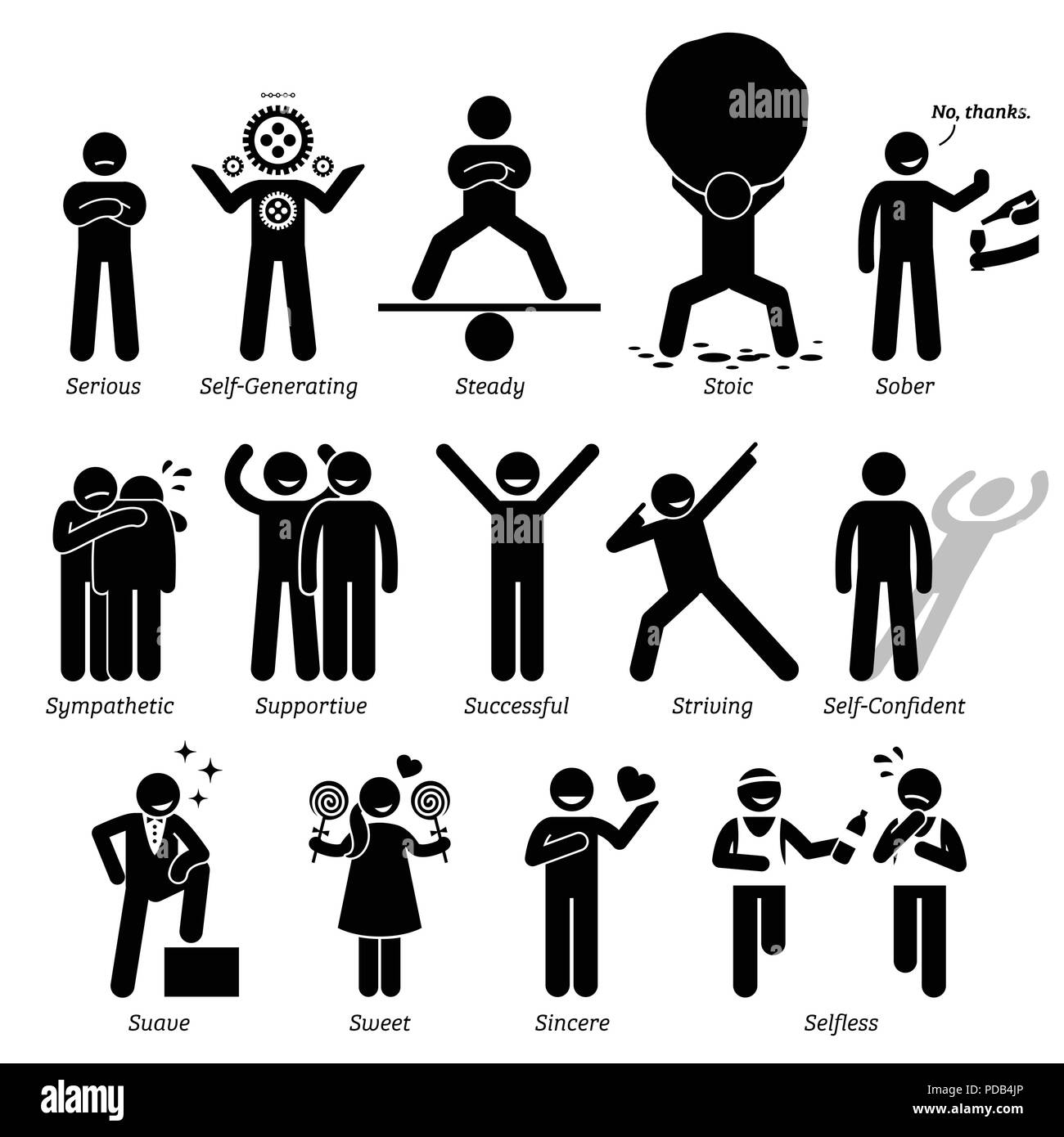 Positive Personalities Character Traits. Stick Figures Man Icons. Starting with the Alphabet S. Stock Vector