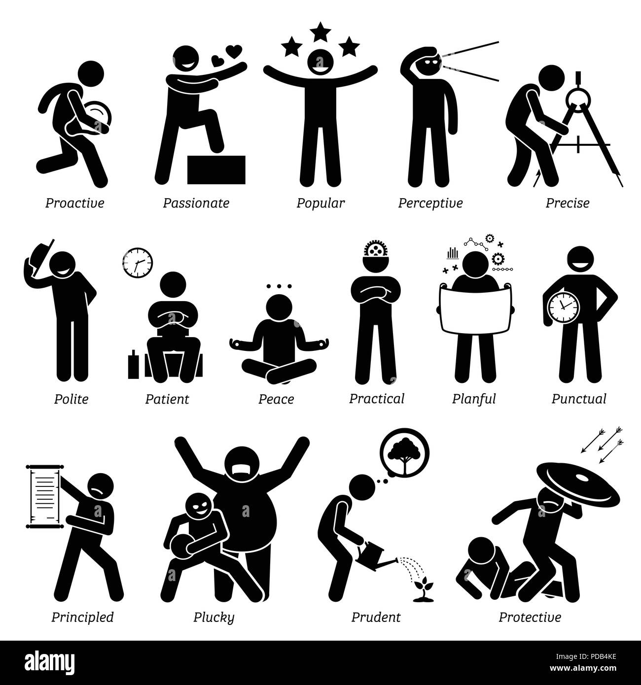 Positive Personalities Character Traits. Stick Figures Man Icons. Starting with the Alphabet P. - Stock Image