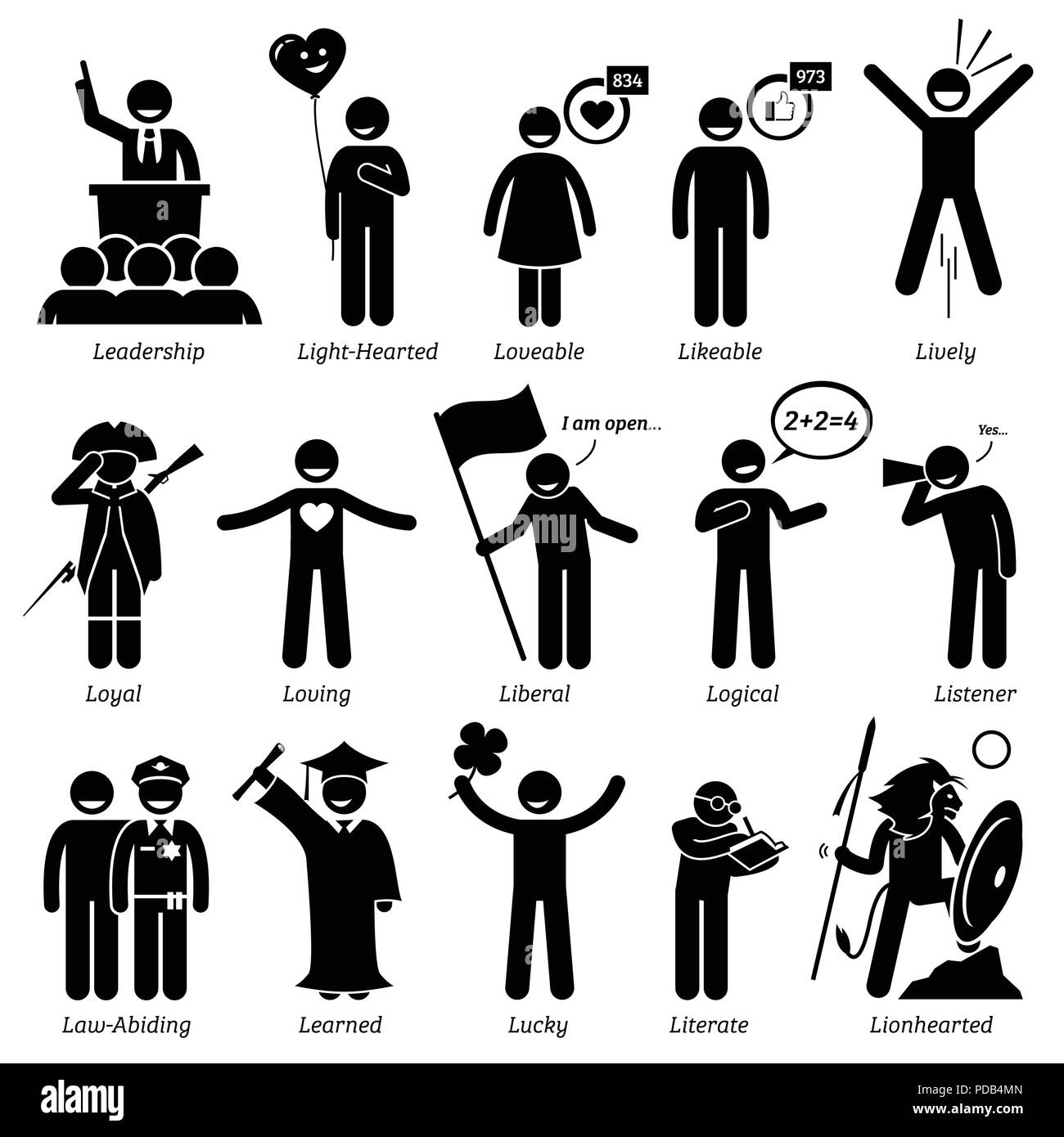 Positive Personalities Character Traits. Stick Figures Man Icons. Starting with the Alphabet L. - Stock Image